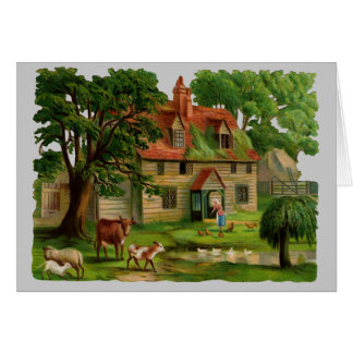 Farm-House With Chickens Greeting Cards