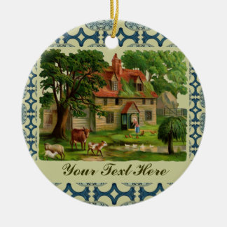 Farm-House With Chickens Round Ceramic Decoration
