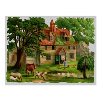 Farm-House With Chickens Post Cards