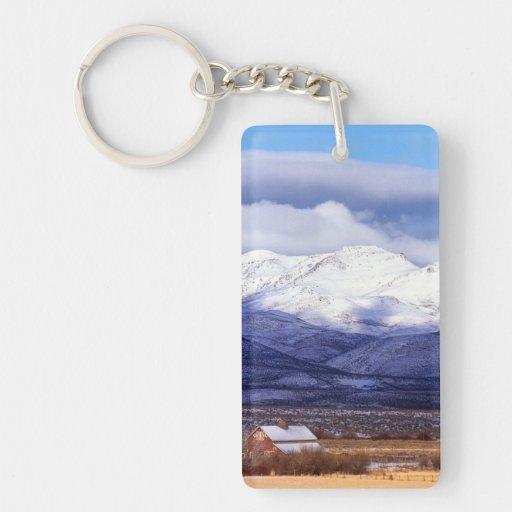 Farm in the Owyhee Mountains Idaho Rectangular Acrylic Key Chain