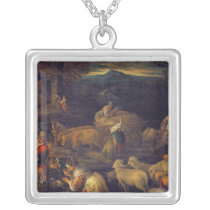 Farm Interior or Shearing Sheep Silver Plated Necklace
