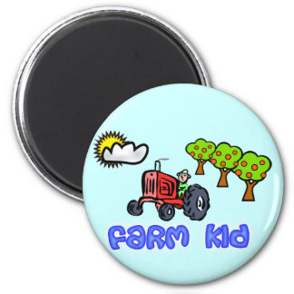 Farm Kid Button with Tractor 2 Inch Round Magnet