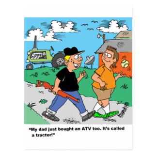 Farm Kids ATV /Tractor Cartoon Postcard