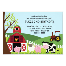 Farm Kids Birthday 5x7 Paper Invitation Card