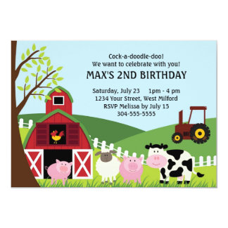 Farm Kids Birthday Card