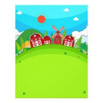 Farm land with barns and windmill letterhead