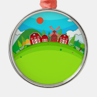 Farm land with barns and windmill metal ornament