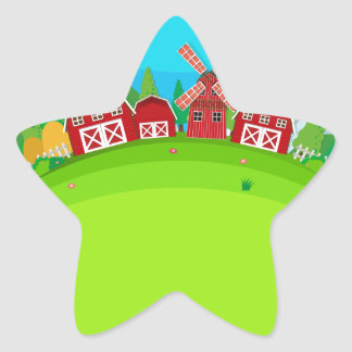 Farm land with barns and windmill star sticker