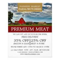 Farm Landscape, Farmer & Butcher Advertising Flyer