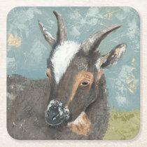 Farm Life-Grey Goat Square Paper Coaster