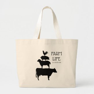 Farm Life Is A Good Life With Animals Large Tote Bag