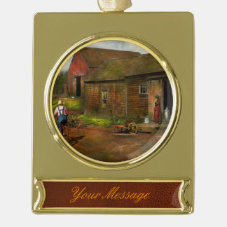 Farm - Life on the farm 1940s Gold Plated Banner Ornament