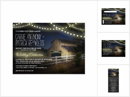Farm Lights Rustic Barn Wedding Invitations Set