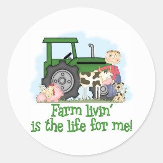 Farm Livin' (Boy) Classic Round Sticker