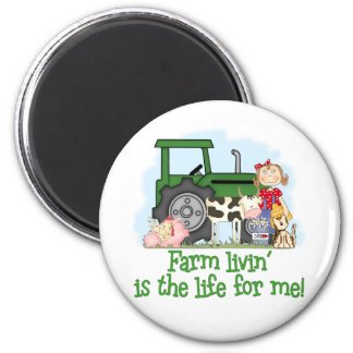 Farm Livin' (Girl) 2 Inch Round Magnet