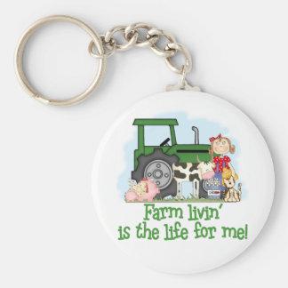 Farm Livin' (Girl) Basic Round Button Keychain