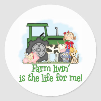 Farm Livin' (Girl) Classic Round Sticker