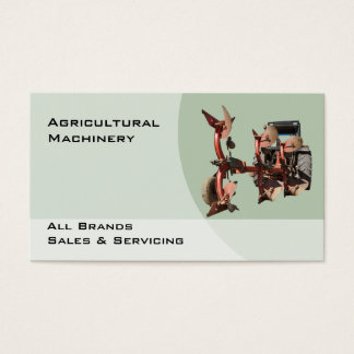 Farm machinery red plow business card