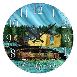Farm Machinery, Tractor, Back-Hoe, Farm Vehicle Large Clock