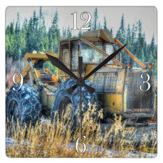 Farm Machinery, Tractor, Back-Hoe, Farm Vehicle Square Wall Clock