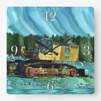 Farm Machinery, Tractor, Back-Hoe, Farm Vehicle Square Wall Clock