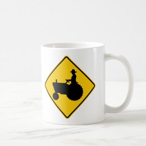 Farm Machinery Traffic Highway Sign Coffee Mugs