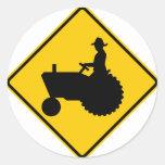Farm Machinery Traffic Highway Sign Round Stickers