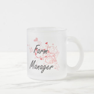 Farm Manager Artistic Job Design with Hearts 10 Oz Frosted Glass Coffee Mug