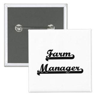 Farm Manager Classic Job Design 2 Inch Square Button