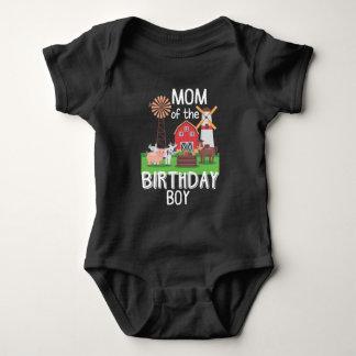 Farm Mom Birthday Boy Mother Animal loving Kid Baby Bodysuit