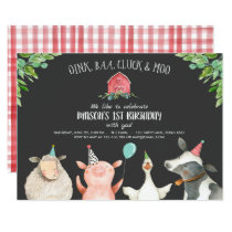 Farm Old MacDonald Barnyard Red Boy Animals Party Invitation