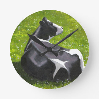 Farm or Ranch: Holstein Cow, Cattle: Painting, Art Round Clock