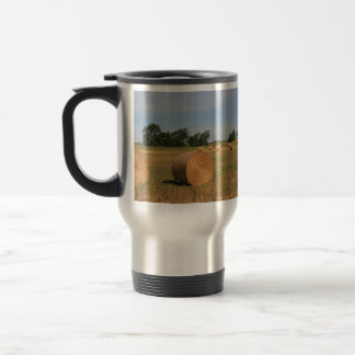 Farm Panorama of Hay Bales Travel Mug