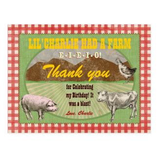 Farm Party Thank You Postcard
