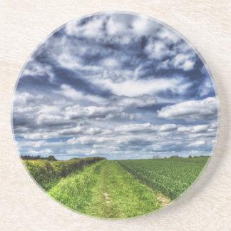 Farm Path Skyscape HDR Drink Coasters