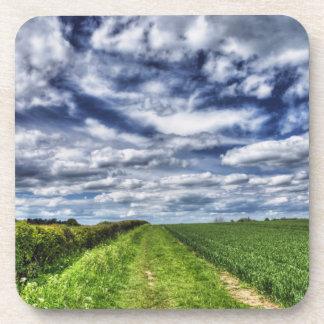 Farm Path Skyscape HDR Beverage Coasters