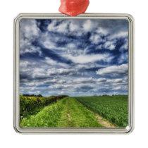 Farm Path Skyscape HDR Metal Ornament