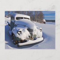 Farm Pickup Truck Covered in Snow Holiday Postcard