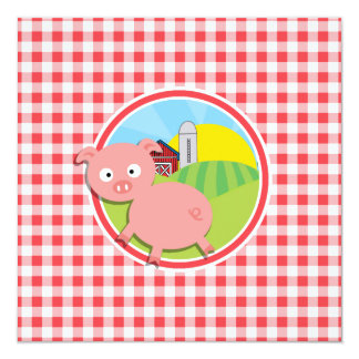 Farm Pig; Red and White Gingham Invitation