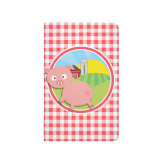 Farm Pig; Red and White Gingham Journal