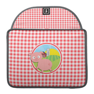 Farm Pig; Red and White Gingham Sleeve For MacBooks