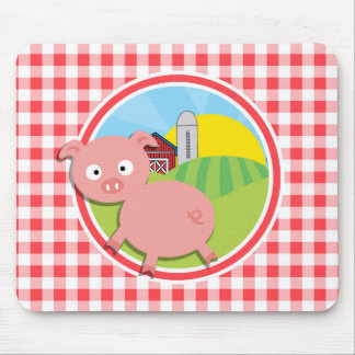 Farm Pig; Red and White Gingham Mouse Pad