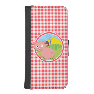Farm Pig; Red and White Gingham iPhone 5 Wallet