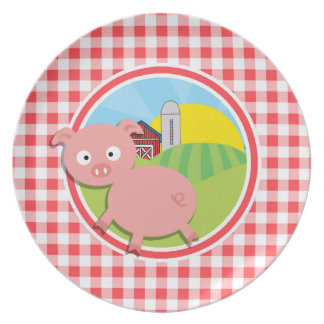 Farm Pig; Red and White Gingham Plates
