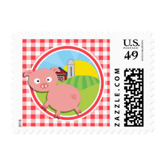 Farm Pig; Red and White Gingham Stamp