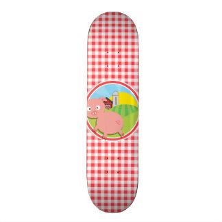 Farm Pig; Red and White Gingham Custom Skateboard