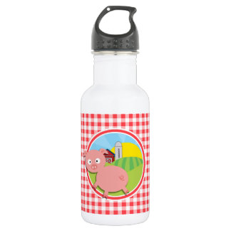 Farm Pig; Red and White Gingham Water Bottle