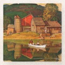 Farm Pond Landscape by Mead Schaeffer Glass Coaster