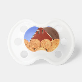 Farm Red Barn Hay Bales Baby Pacifier