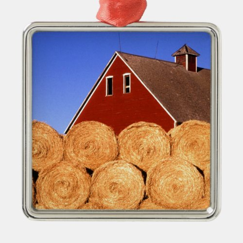 Red Barn Hay Bales Ornament